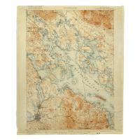 NH: Lake Winnipesaukee, NH, C. 1907 Vintage Topo Map Blanket