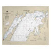 MI: North End of Lake Michigan, MI Nautical Chart Fleece Blanket