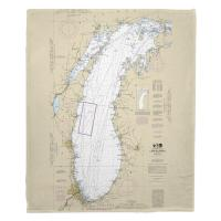 Lake Michigan Nautical Chart Blanket