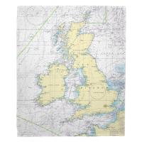British Isles Nautical Chart Blanket