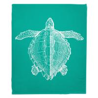 Vintage Sea Turtle Fleece Blanket - White on Aqua