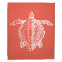 Vintage Sea Turtle Blanket - White on Coral