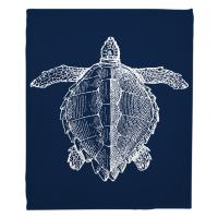 Vintage Sea Turtle Blanket - White on Navy