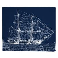 Vintage Ship Blanket - White on Navy