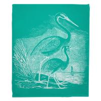 Vintage Egrets Blanket - White on Aqua