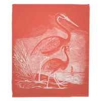 Vintage Egrets Blanket - White on Coral