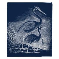 Vintage Egrets Blanket - White on Navy