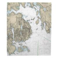 ME: Frenchman Bay, Mount Desert Island, ME Nautical Chart Blanket