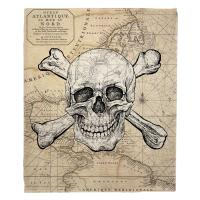 Skull & Crossbones Old World Nautical Chart Blanket
