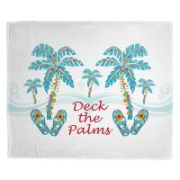 Deck the Palms Christmas Blanket - White