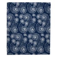 Nautilus Outline Navy Blanket