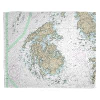 ME: North Haven, Vinalhaven, ME Nautical Chart Throw Blanket