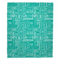 Beach Vacation Words Aqua Blanket