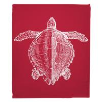 Vintage Sea Turtle Blanket - White on Red