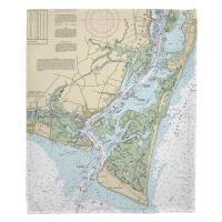 NC: Oak Island, Southport, Bald Head Island, NC Nautical Chart Blanket