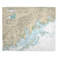 CT: Norwalk, Saugatuck, CT Nautical Chart Blanket