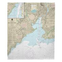 CT: New Haven Harbor, CT Nautical Chart Blanket