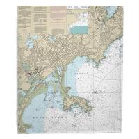 MA: Lynn, Nahant, MA Nautical Chart Blanket
