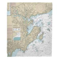 MA: Marblehead, Salem, MA Nautical Chart Blanket