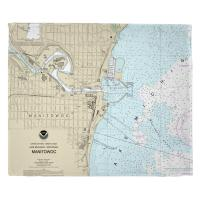 WI: Manitowoc, WI Nautical Chart Blanket