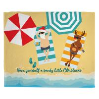 Beach Santa and Reindeer Christmas Blanket