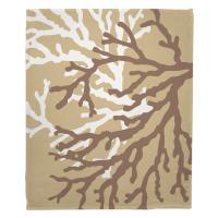 Coral Duo on Beach Sand Brown Blanket