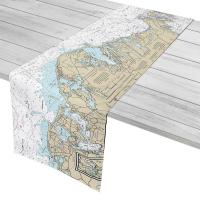 MA: Woods Hole, Falmouth, Osterville Grand Island, MA Nautical Chart Table Runner
