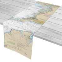 MA: Woods Hole, Falmouth, Pocasset, Monument Beach, MA Nautical Chart Table Runner