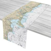 MA: Hyannis, West Yarmouth, Dennis Port, Harwich Port, MA Nautical Chart Table Runner