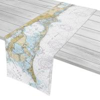 FL: Anna Maria Island, Longboat Key, Siesta Key, FL Nautical Chart Table Runner