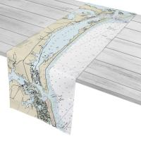 NC: Bogue Sound, Bogue Banks, NC Nautical Chart Table Runner