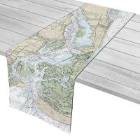 NC: Pleasure Island to Cape Fear River Entrance, NC Nautical Chart Table Runner