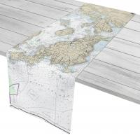 RI: Bristol to Newport, RI Nautical Chart Table Runner