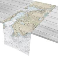 MA: Fall River, MA to Little Compton, RI Nautical Chart Table Runner