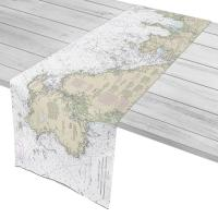 MA: Winthrop, Nahant, Marblehead, Cape Ann, MA Nautical Chart Table Runner