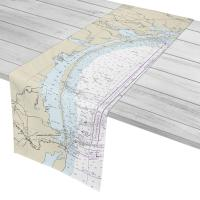 TX: Mustang Island, Padre Island, TX Nautical Chart Table Runner