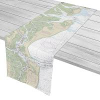 GA: Jekyll Island, Cumberland Island, GA Nautical Chart Table Runner