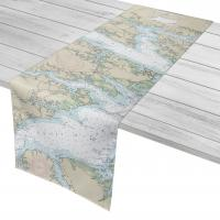 NC: Pungo River, Goose Creek Island, Bay River, NC Nautical Chart Table Runner