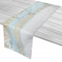 TX: Padre Island, Mustang Island, TX Nautical Chart Table Runner