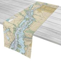 NC: Wilmington, Cape Fear River, NC Nautical Chart Table Runner