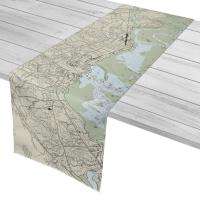 MA: Plymouth, MA Nautical Chart Table Runner
