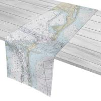 AL: Dauphin Island, Fort Morgan, Pine Beach, Gulf Shores, AL Nautical Chart Table Runner
