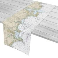 CT: Clinton, Westbrook, Old Saybrook, CT Nautical Chart Table Runner