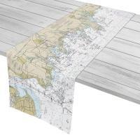 CT: New Haven, Branford, Guilford, CT Nautical Chart Table Runner
