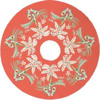 Deck the Palms Christmas Tree Skirt - Coral