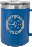 Custom Compass Rose NSEW 15oz Insulated Mug S/4